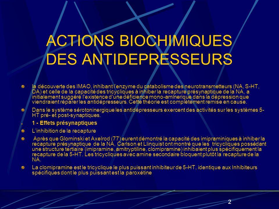 2 ACTIONS BIOCHIMIQUES DES ANTIDEPRESSEURS la découverte des IMAO, inhibant lenzyme du catabolisme des neurotransmetteurs (NA, S-HT, DA) et celle de la capacité des tricycliques à inhiber la recapture présynaptique de la NA, a initialement suggéré l existence d une déficience mono-amlnerique dans la dépression que viendraient réparer les antidépresseurs.