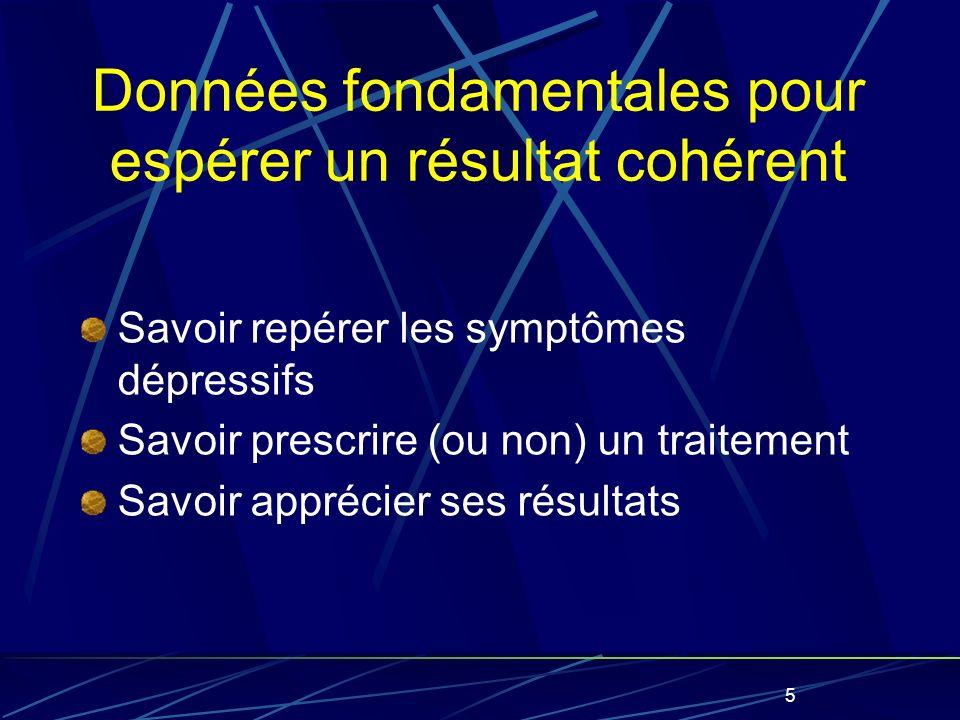 5 Données fondamentales pour espérer un résultat cohérent Savoir repérer les symptômes dépressifs Savoir prescrire (ou non) un traitement Savoir apprécier ses résultats