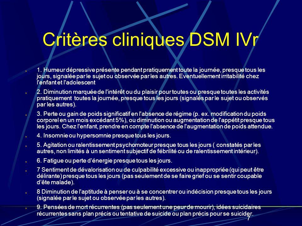 7 Critères cliniques DSM IVr 1.