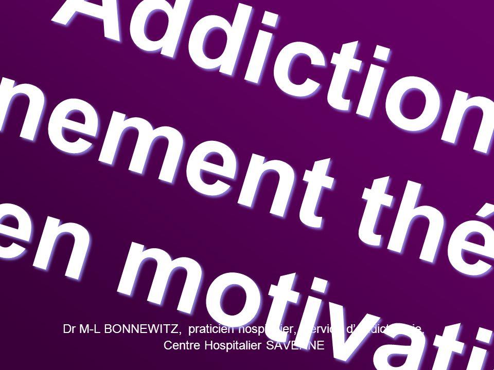 Principes de prise en charge La prise en charge dépend : –de ce que souhaite la personne, –de la sévérité des problèmes liés aux consommations de substances psychoactives, –de limportance des facteurs psychologiques et sociaux sous-jacents.