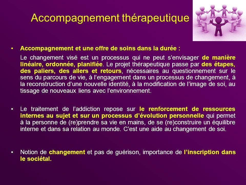 Accompagnement thérapeutique Accompagnement et une offre de soins dans la durée : Le changement visé est un processus qui ne peut senvisager de manièr