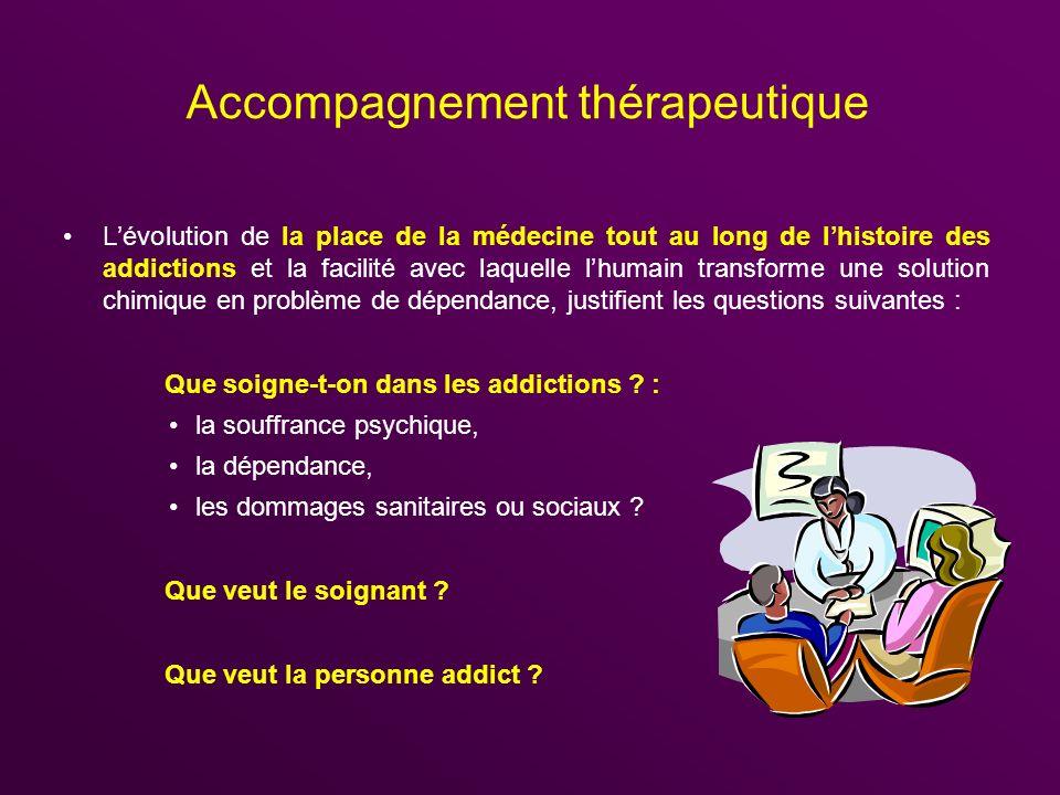 Accompagnement thérapeutique Lévolution de la place de la médecine tout au long de lhistoire des addictions et la facilité avec laquelle lhumain trans