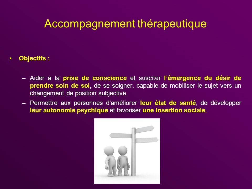 Accompagnement thérapeutique Objectifs : –Aider à la prise de conscience et susciter lémergence du désir de prendre soin de soi, de se soigner, capabl