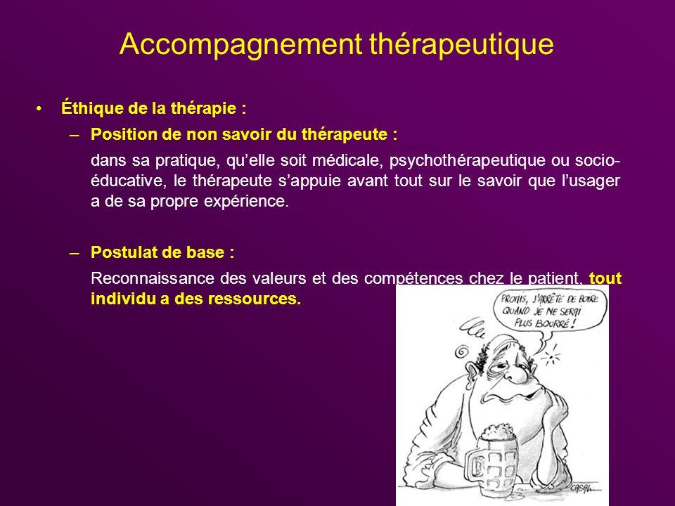 Accompagnement thérapeutique Éthique de la thérapie : –Position de non savoir du thérapeute : dans sa pratique, quelle soit médicale, psychothérapeuti