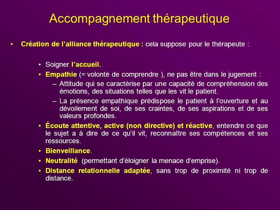 Accompagnement thérapeutique Création de lalliance thérapeutique : cela suppose pour le thérapeute : Soigner laccueil. Empathie (= volonté de comprend