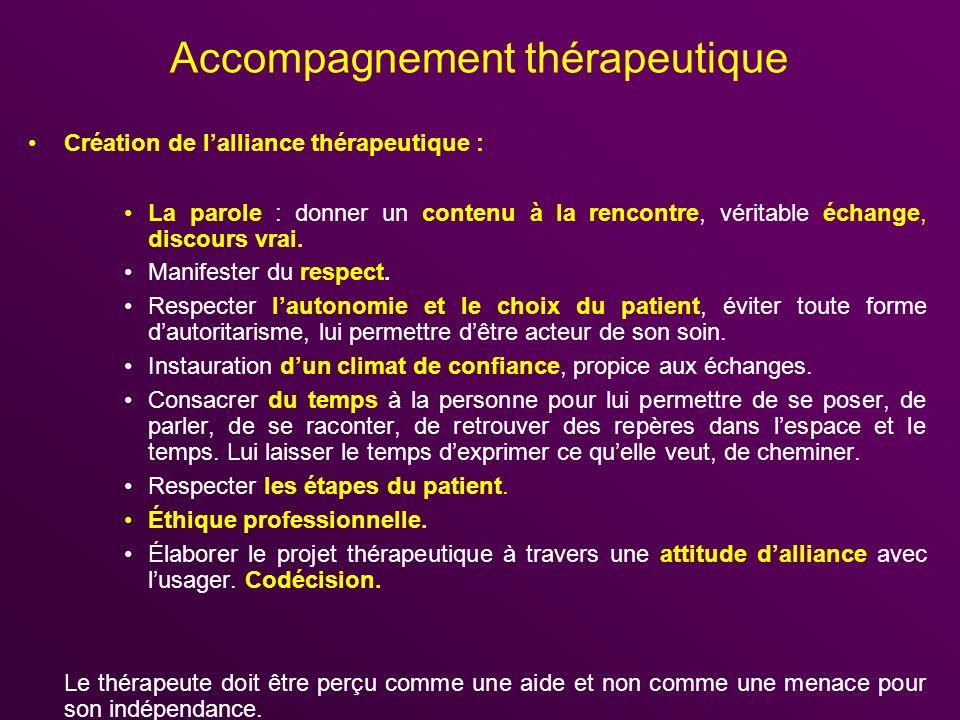 Accompagnement thérapeutique Création de lalliance thérapeutique : La parole : donner un contenu à la rencontre, véritable échange, discours vrai. Man