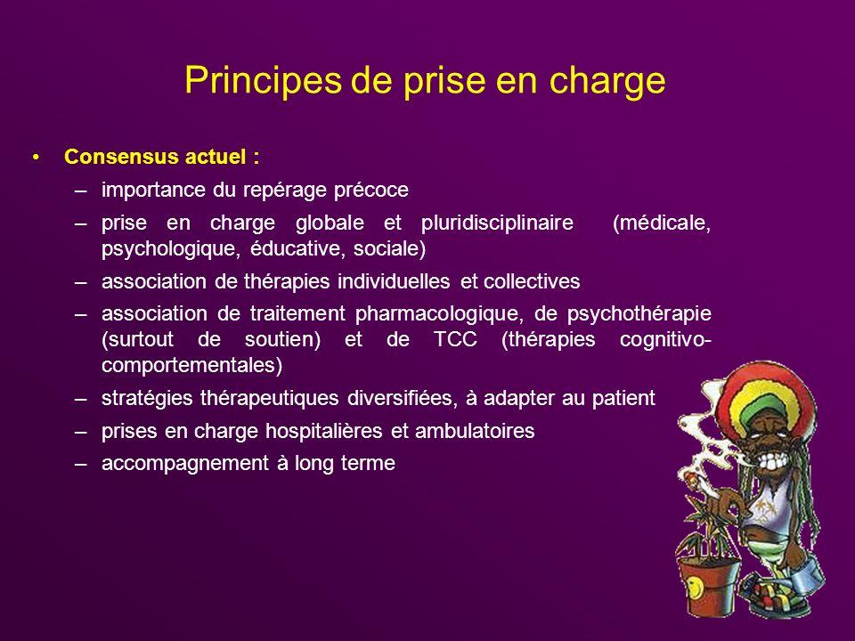 Principes de prise en charge Consensus actuel : –importance du repérage précoce –prise en charge globale et pluridisciplinaire (médicale, psychologiqu