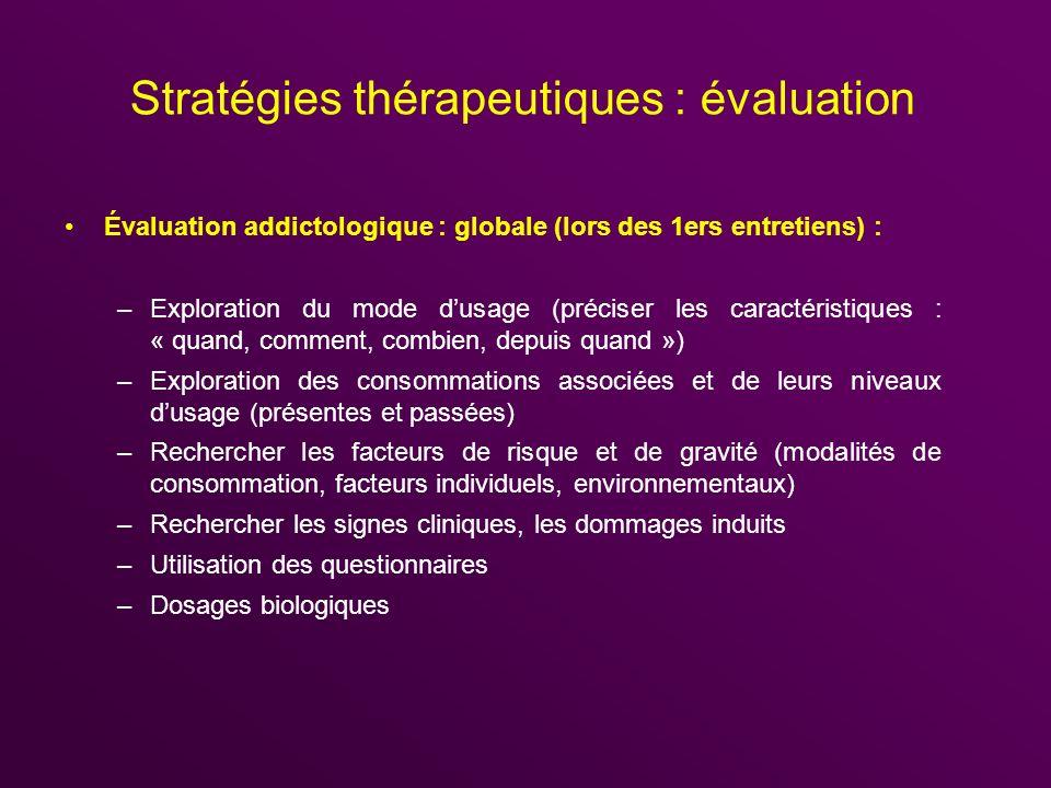 Stratégies thérapeutiques : évaluation Évaluation addictologique : globale (lors des 1ers entretiens) : –Exploration du mode dusage (préciser les cara