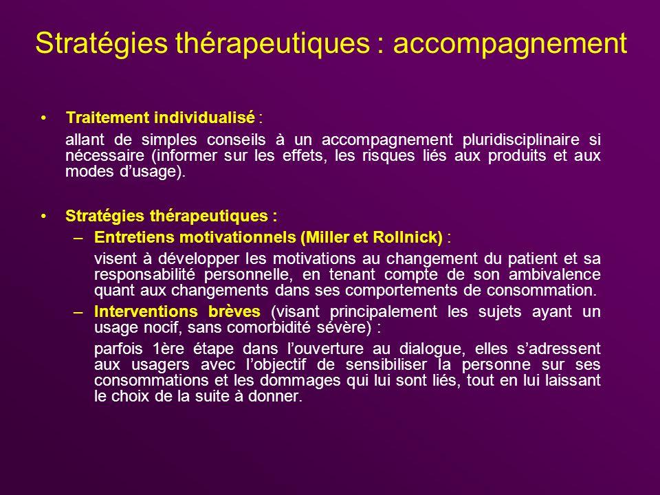 Stratégies thérapeutiques : accompagnement Traitement individualisé : allant de simples conseils à un accompagnement pluridisciplinaire si nécessaire