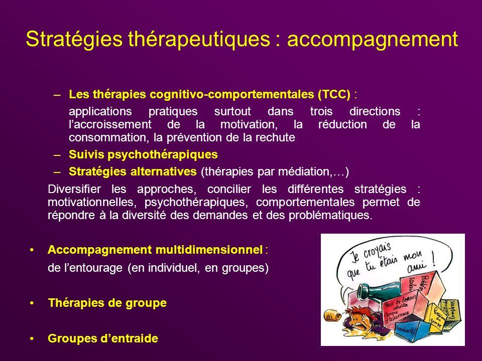 Stratégies thérapeutiques : accompagnement –Les thérapies cognitivo-comportementales (TCC) : applications pratiques surtout dans trois directions : la