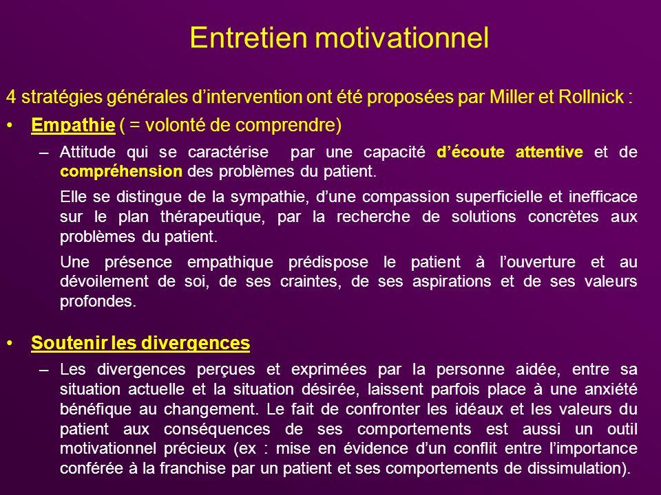 Entretien motivationnel 4 stratégies générales dintervention ont été proposées par Miller et Rollnick : Empathie ( = volonté de comprendre) –Attitude