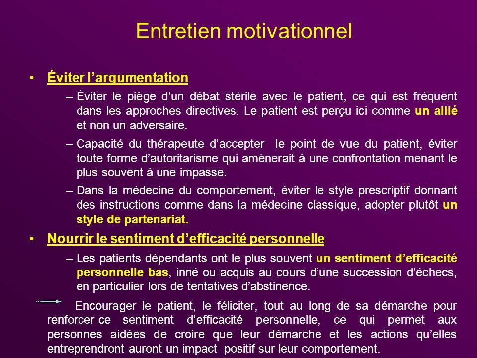 Entretien motivationnel Éviter largumentation –Éviter le piège dun débat stérile avec le patient, ce qui est fréquent dans les approches directives. L
