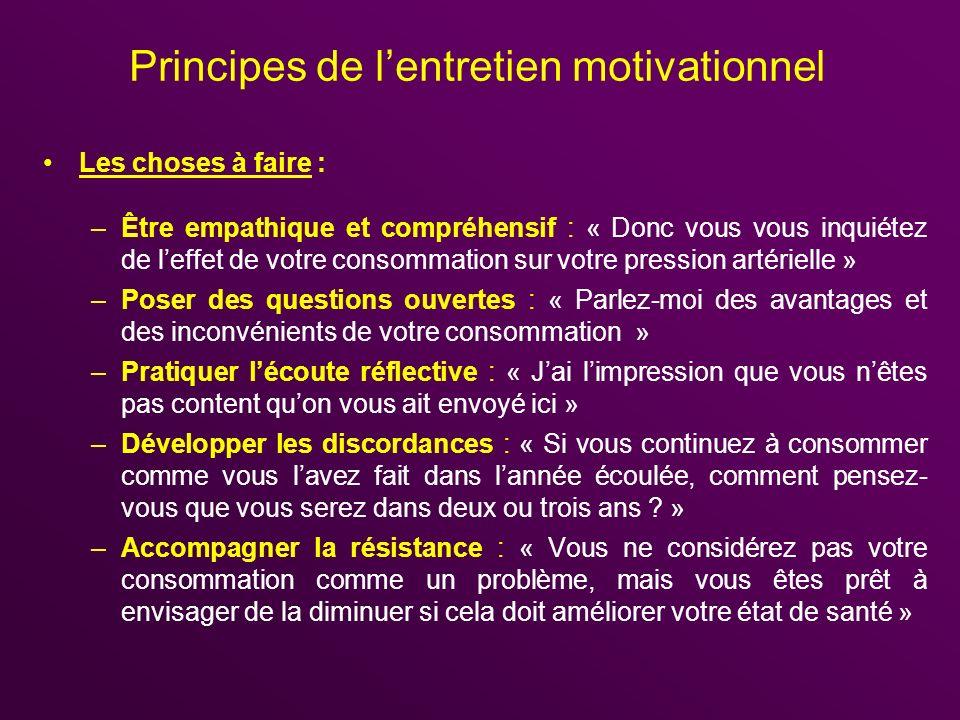 Principes de lentretien motivationnel Les choses à faire : –Être empathique et compréhensif : « Donc vous vous inquiétez de leffet de votre consommati