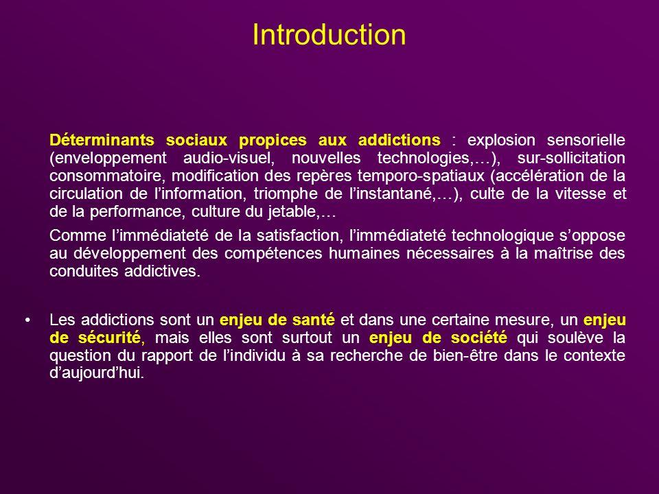 Introduction Déterminants sociaux propices aux addictions : explosion sensorielle (enveloppement audio-visuel, nouvelles technologies,…), sur-sollicit