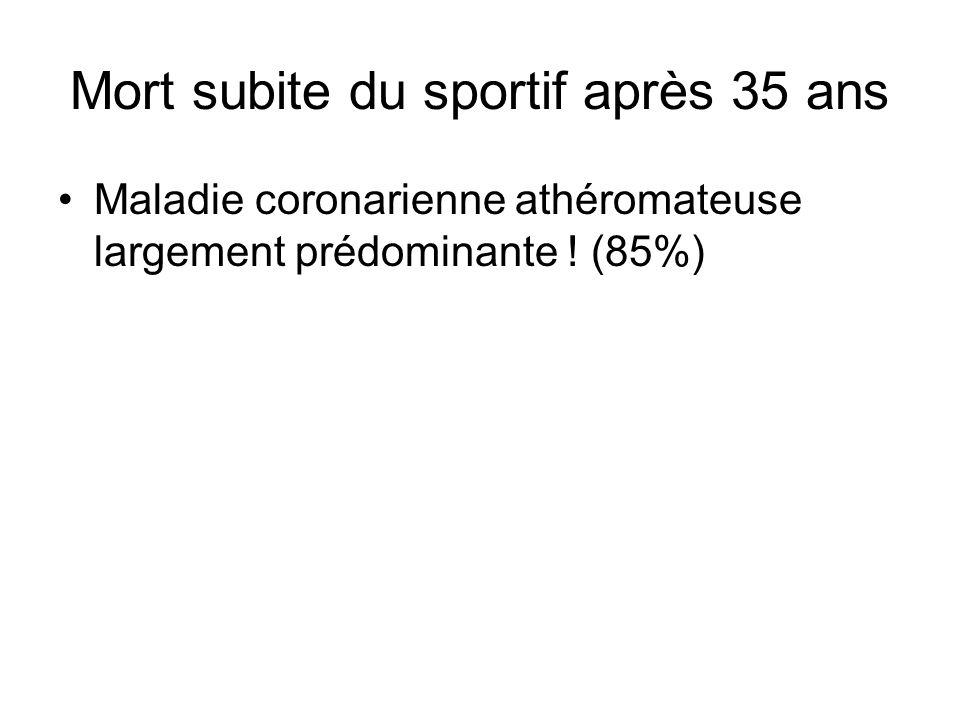 Mort subite du sportif après 35 ans Maladie coronarienne athéromateuse largement prédominante ! (85%)