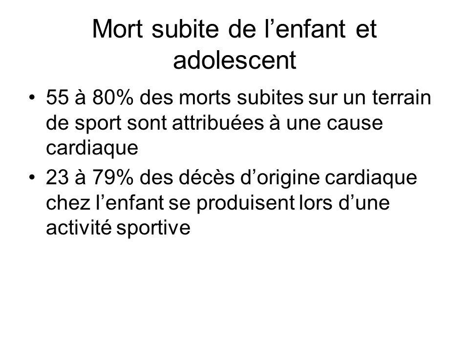 Mort subite de lenfant et adolescent 55 à 80% des morts subites sur un terrain de sport sont attribuées à une cause cardiaque 23 à 79% des décès dorig