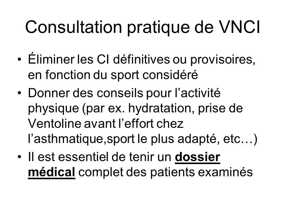 Consultation pratique de VNCI Éliminer les CI définitives ou provisoires, en fonction du sport considéré Donner des conseils pour lactivité physique (