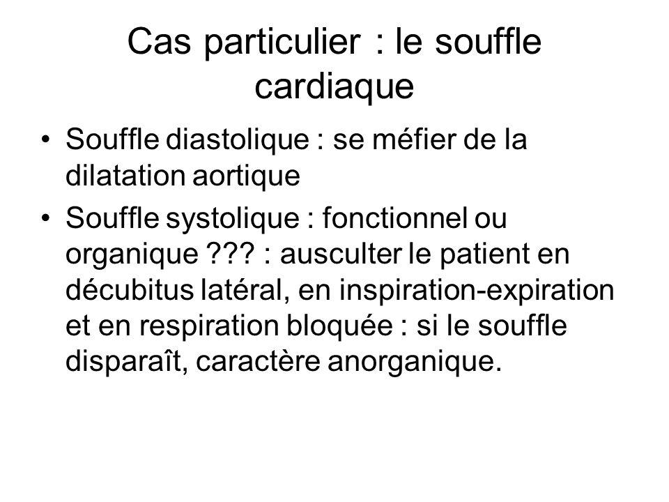 Cas particulier : le souffle cardiaque Souffle diastolique : se méfier de la dilatation aortique Souffle systolique : fonctionnel ou organique ??? : a