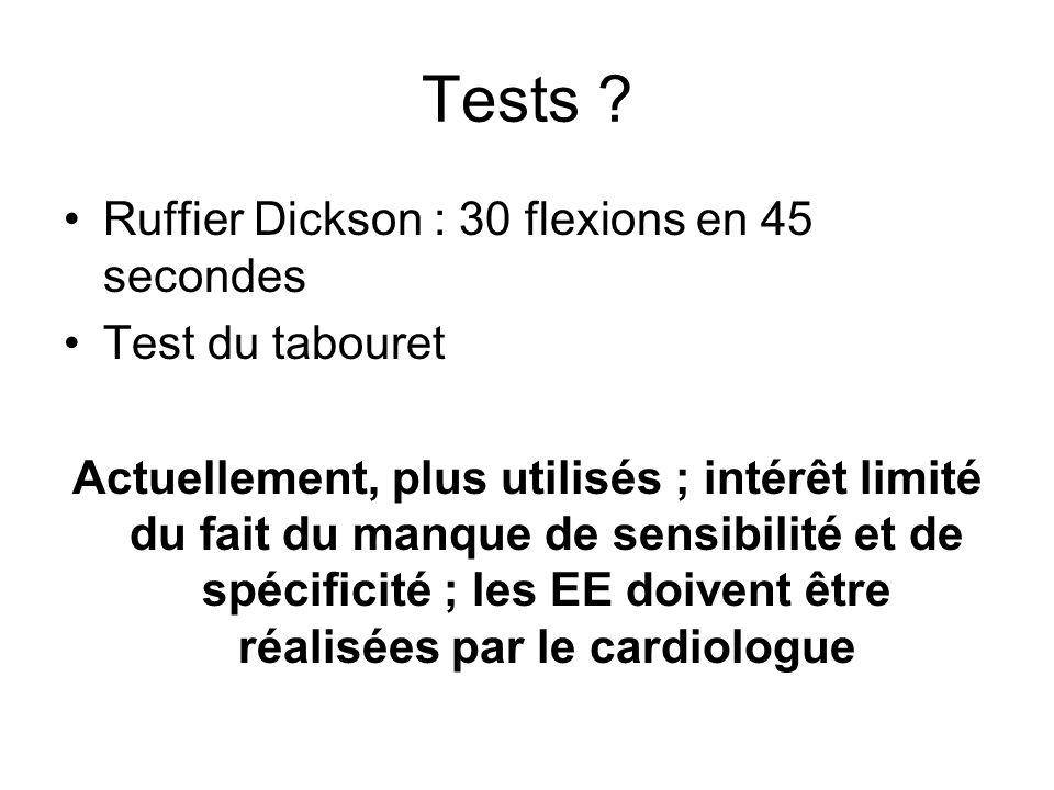 Tests ? Ruffier Dickson : 30 flexions en 45 secondes Test du tabouret Actuellement, plus utilisés ; intérêt limité du fait du manque de sensibilité et