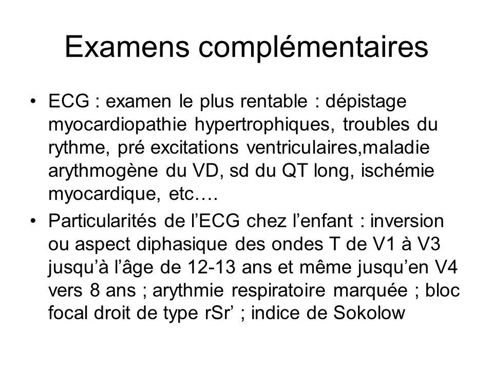 Examens complémentaires ECG : examen le plus rentable : dépistage myocardiopathie hypertrophiques, troubles du rythme, pré excitations ventriculaires,