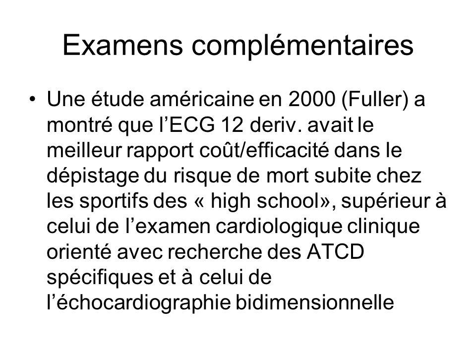 Examens complémentaires Une étude américaine en 2000 (Fuller) a montré que lECG 12 deriv. avait le meilleur rapport coût/efficacité dans le dépistage