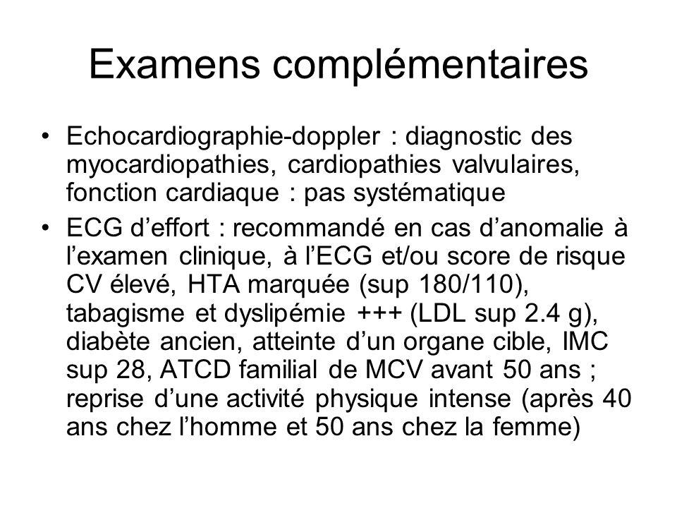 Examens complémentaires Echocardiographie-doppler : diagnostic des myocardiopathies, cardiopathies valvulaires, fonction cardiaque : pas systématique