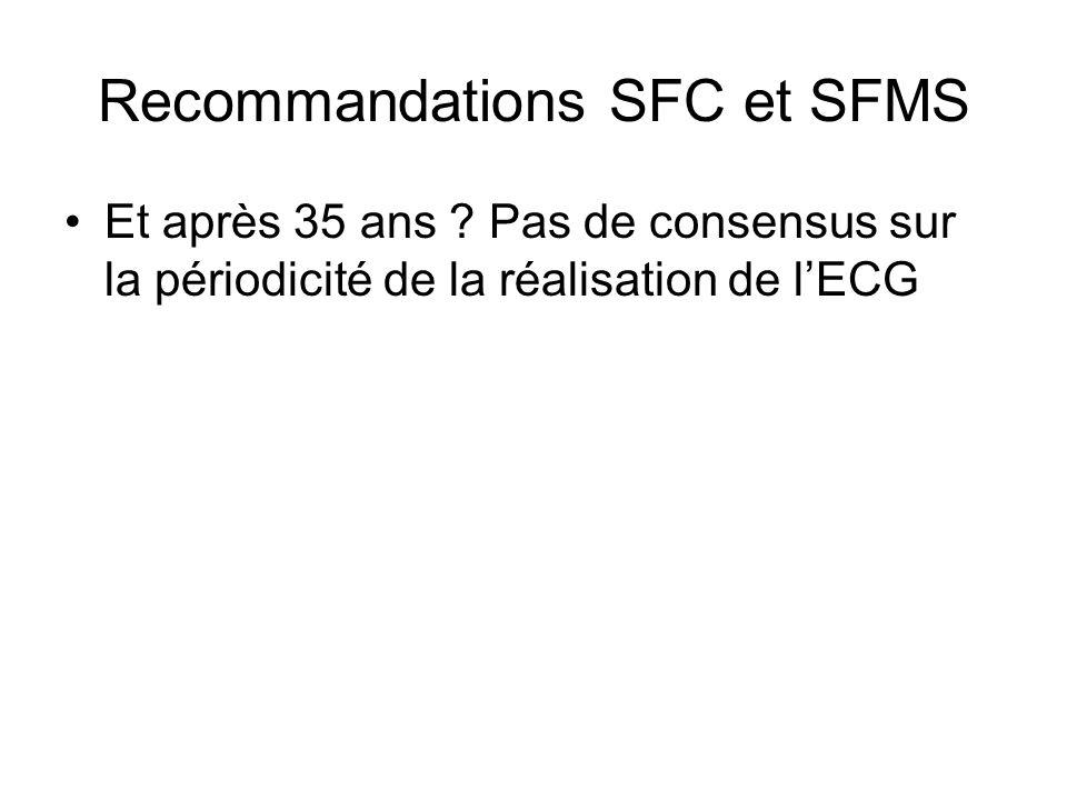 Recommandations SFC et SFMS Et après 35 ans ? Pas de consensus sur la périodicité de la réalisation de lECG
