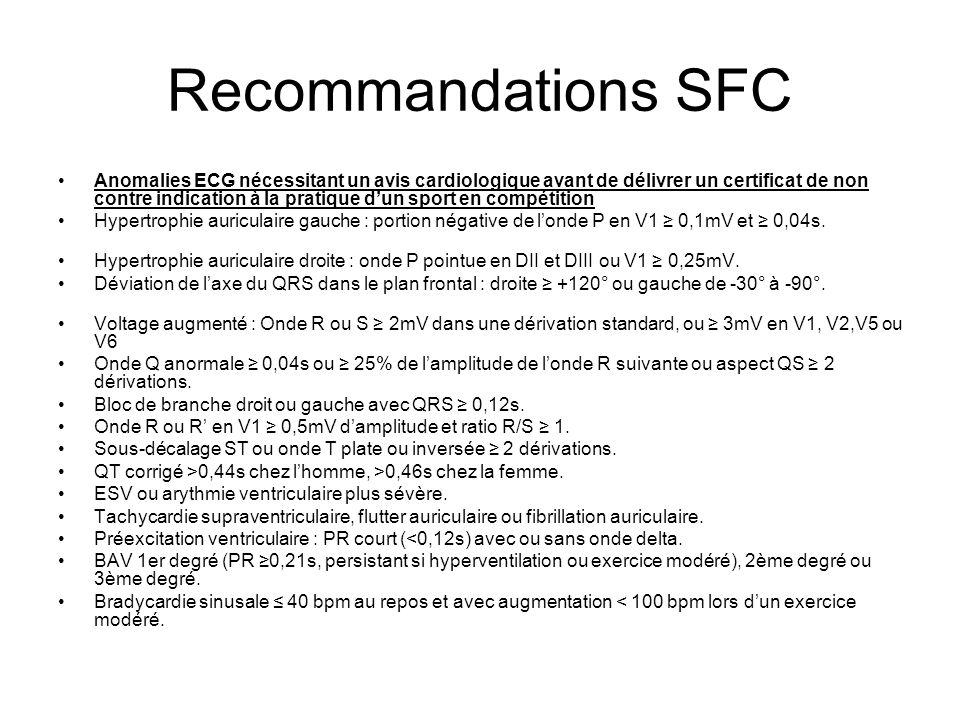Recommandations SFC Anomalies ECG nécessitant un avis cardiologique avant de délivrer un certificat de non contre indication à la pratique dun sport e