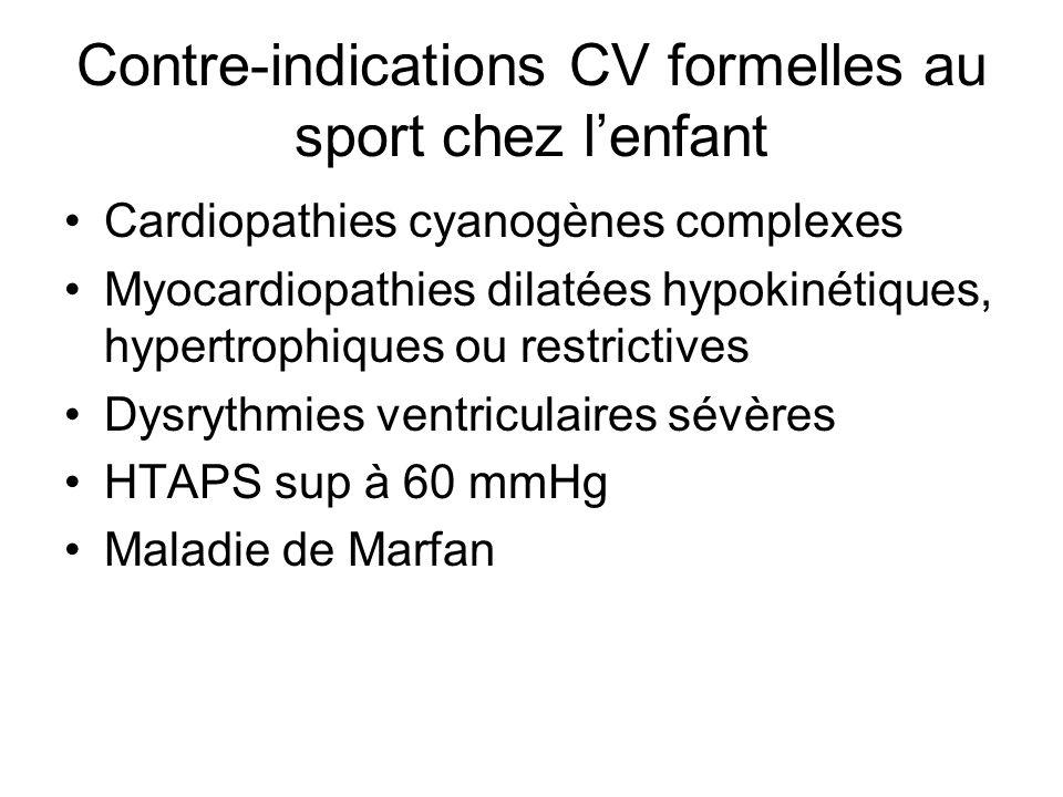 Contre-indications CV formelles au sport chez lenfant Cardiopathies cyanogènes complexes Myocardiopathies dilatées hypokinétiques, hypertrophiques ou