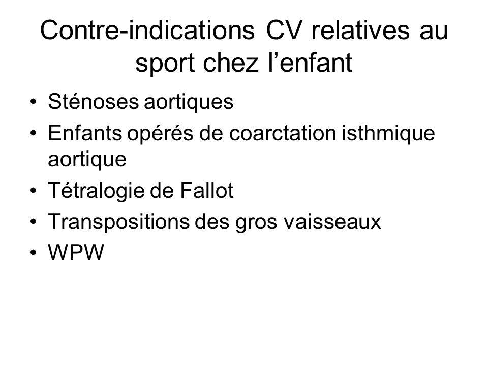 Contre-indications CV relatives au sport chez lenfant Sténoses aortiques Enfants opérés de coarctation isthmique aortique Tétralogie de Fallot Transpo