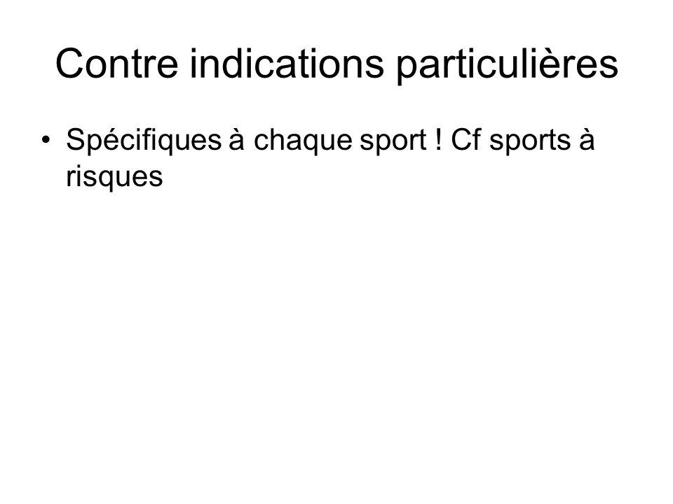 Contre indications particulières Spécifiques à chaque sport ! Cf sports à risques