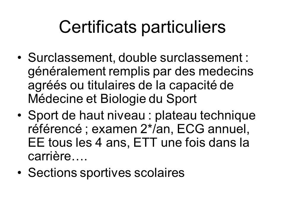 Certificats particuliers Surclassement, double surclassement : généralement remplis par des medecins agréés ou titulaires de la capacité de Médecine e
