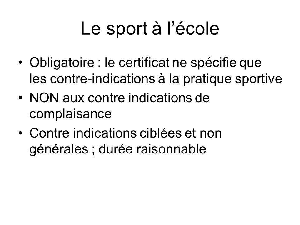 Le sport à lécole Obligatoire : le certificat ne spécifie que les contre-indications à la pratique sportive NON aux contre indications de complaisance