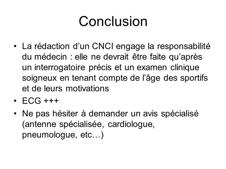 Conclusion La rédaction dun CNCI engage la responsabilité du médecin : elle ne devrait être faite quaprès un interrogatoire précis et un examen cliniq