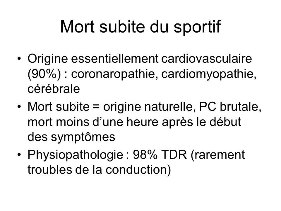 Recommandations SFC Critères ECG de repos nécessitant un avis cardiologique avant de délivrer un certificat de non contre indication à la pratique dun sport en compétition Rythme non sinusal Présence dune extrasystole ventriculaire ou de plus dune extrasystole supra-ventriculaire Onde P en DI ou DII 0,12 s et portion négative de londe P en V1 0,1 mV et 0,04s Intervalle PR > 0,22 s Allongement progressif de lintervalle PR jusquà une onde P non suivi dun complexe QRS Onde P occasionnellement non suivie dun complexe QRS Dissociation atrio-ventriculaire Intervalle PR < 0,12 s avec ou sans onde delta Aspect RSR en V1-V2 avec durée QRS 0,12 s Aspect RR en V5-V6 avec durée QRS 0,12 s Onde R ou R en V1 0,5 mV avec ratio R/S 1 Un des 3 critères dhypertrophie ventriculaire gauche électrique suivant : - indice de Sokolow-Lyon > 5 mV - onde R ou S dans au moins 2 dérivations standards > 2 mV - indice de Sokolow-Lyon 3,5 mV avec onde R ou S dans 1 dérivation standard > 2 mV Onde Q anormale dans au moins 2 dérivations : - soit de durée 0,04 s - soit de profondeur 25 % de lamplitude de londe R suivante Axe de QRS dans le plan frontal +120° ou - 30° Sous-décalage du segment ST et/ou onde T, plate, diphasique ou négative 2 dérivations, à lexception de DIII, V1 et aVR Onde ε dans les dérivations précordiales droites Aspect évocateur dun syndrome de Brugada dans les dérivations précordiales droites QTc par la formule de Bazett : - > 0, 46 chez un homme - > 0,47 chez une femme -< 0,3