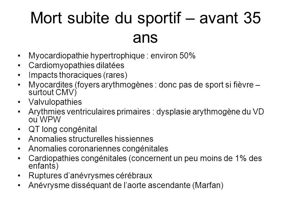 Mort subite du sportif – avant 35 ans Myocardiopathie hypertrophique : environ 50% Cardiomyopathies dilatées Impacts thoraciques (rares) Myocardites (