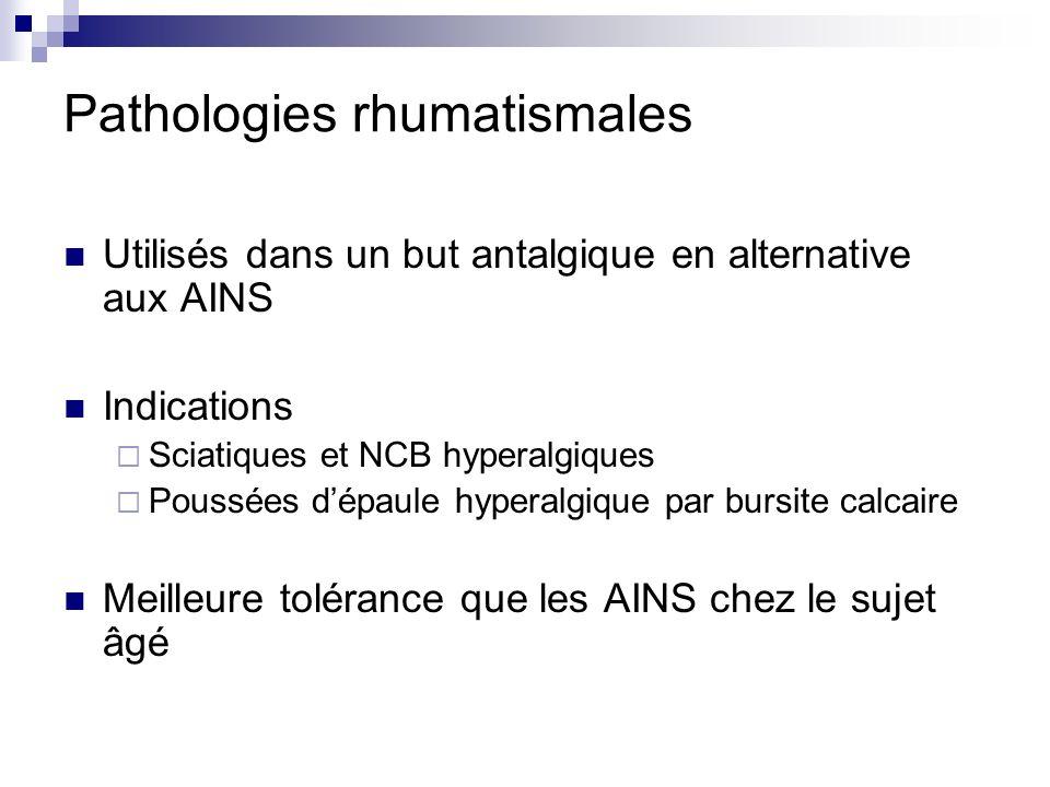 Pathologies rhumatismales Utilisés dans un but antalgique en alternative aux AINS Indications Sciatiques et NCB hyperalgiques Poussées dépaule hyperal
