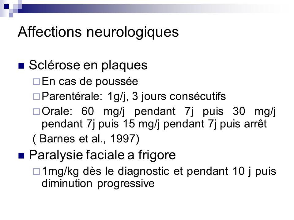 Affections neurologiques Sclérose en plaques En cas de poussée Parentérale: 1g/j, 3 jours consécutifs Orale: 60 mg/j pendant 7j puis 30 mg/j pendant 7