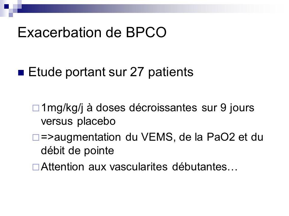 Exacerbation de BPCO Etude portant sur 27 patients 1mg/kg/j à doses décroissantes sur 9 jours versus placebo =>augmentation du VEMS, de la PaO2 et du