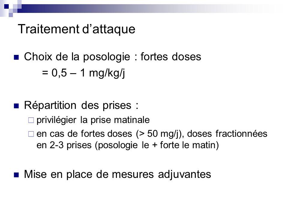 Traitement dattaque Choix de la posologie : fortes doses = 0,5 – 1 mg/kg/j Répartition des prises : privilégier la prise matinale en cas de fortes dos