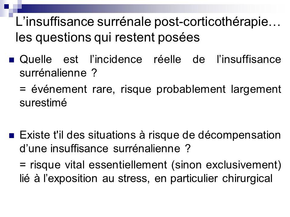 Linsuffisance surrénale post-corticothérapie… les questions qui restent posées Quelle est lincidence réelle de linsuffisance surrénalienne ? = événeme