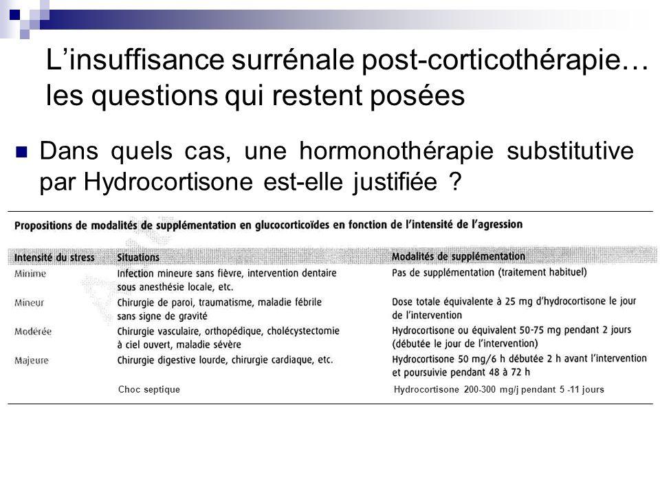 Dans quels cas, une hormonothérapie substitutive par Hydrocortisone est-elle justifiée ? Hydrocortisone 200-300 mg/j pendant 5 -11 joursChoc septique