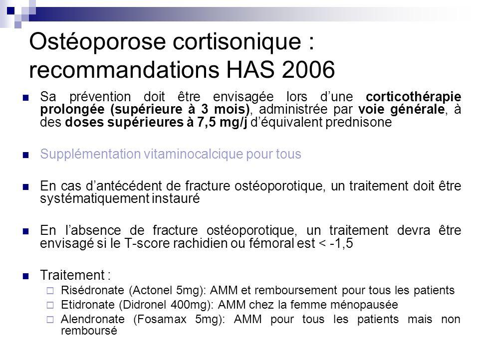 Ostéoporose cortisonique : recommandations HAS 2006 Sa prévention doit être envisagée lors dune corticothérapie prolongée (supérieure à 3 mois), admin