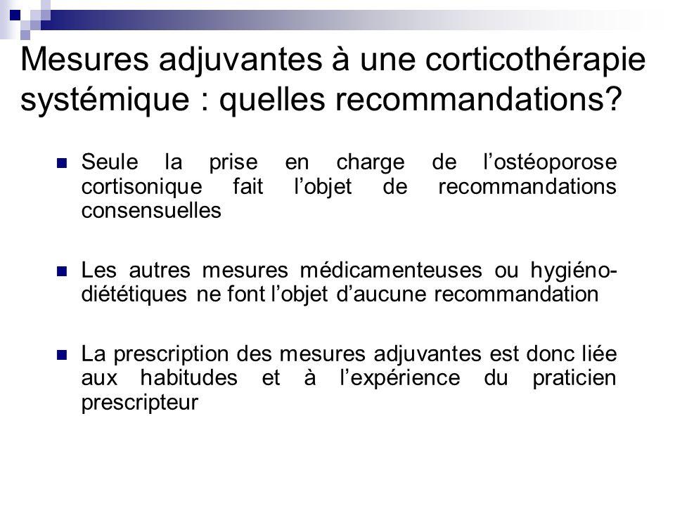 Mesures adjuvantes à une corticothérapie systémique : quelles recommandations? Seule la prise en charge de lostéoporose cortisonique fait lobjet de re