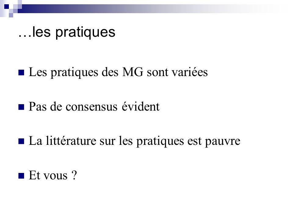 …les pratiques Les pratiques des MG sont variées Pas de consensus évident La littérature sur les pratiques est pauvre Et vous ?