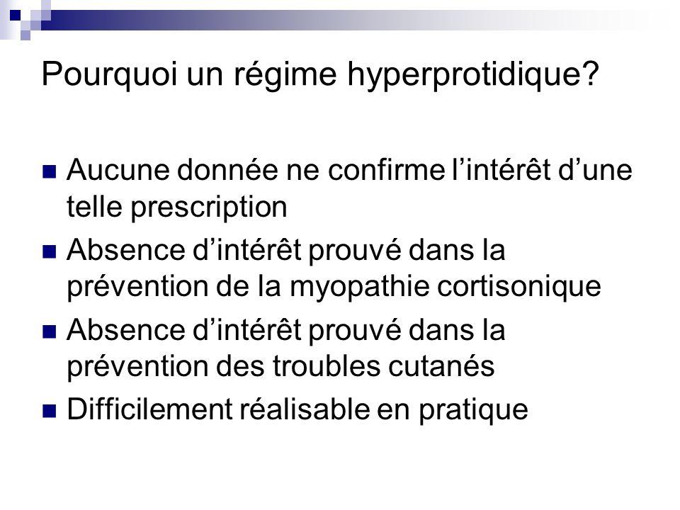 Pourquoi un régime hyperprotidique? Aucune donnée ne confirme lintérêt dune telle prescription Absence dintérêt prouvé dans la prévention de la myopat