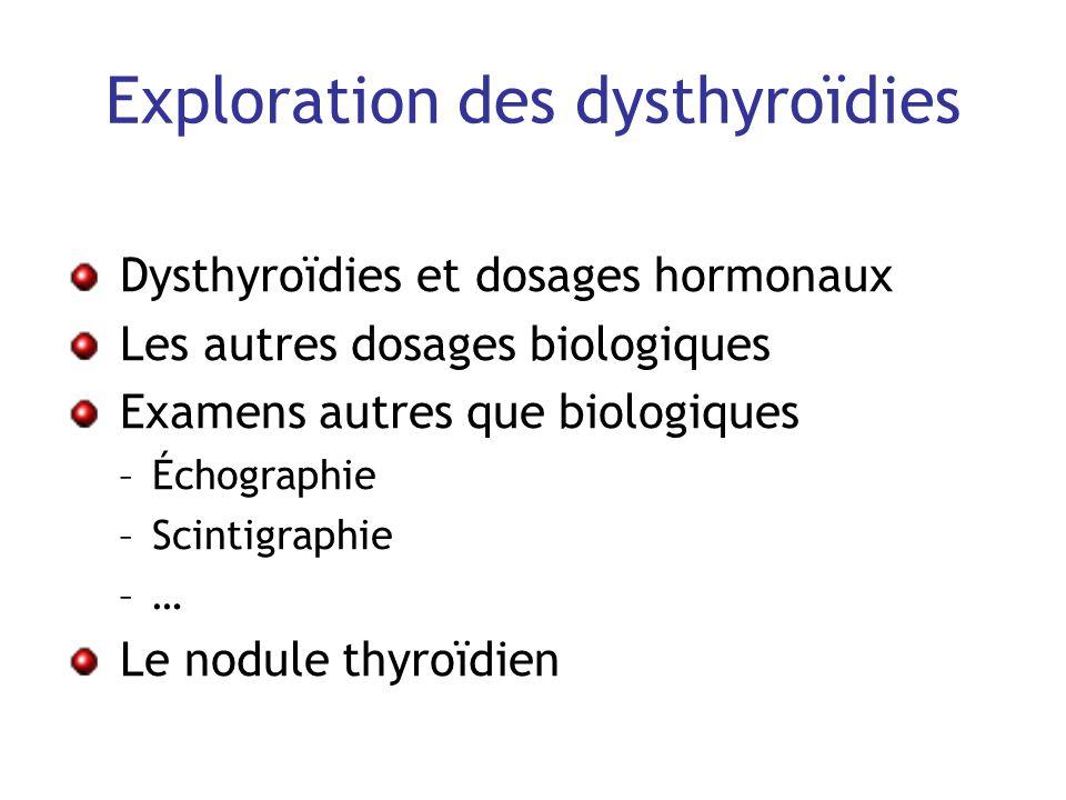 Exploration des dysthyroïdies Dysthyroïdies et dosages hormonaux Les autres dosages biologiques Examens autres que biologiques –Échographie –Scintigra