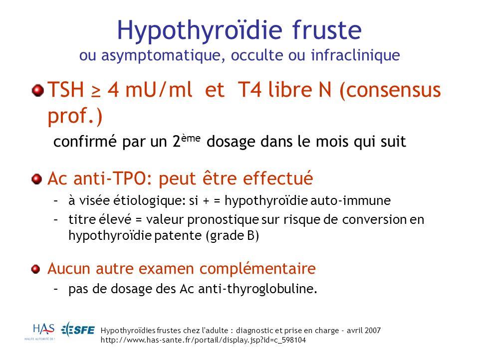 Hypothyroïdie fruste ou asymptomatique, occulte ou infraclinique TSH 4 mU/ml et T4 libre N (consensus prof.) confirmé par un 2 ème dosage dans le mois