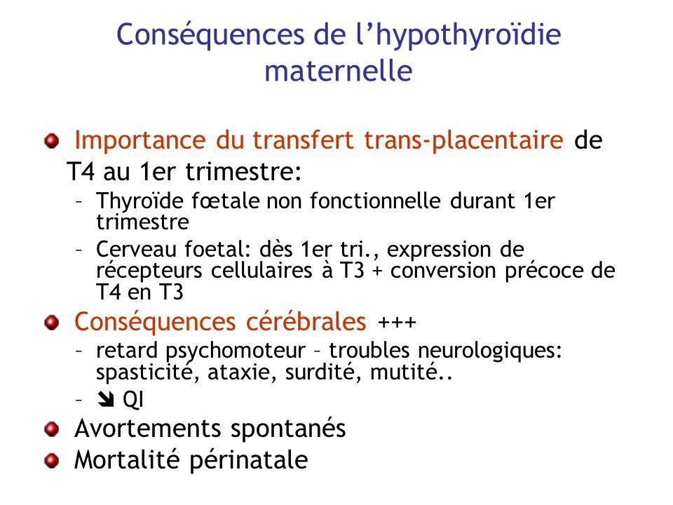Conséquences de lhypothyroïdie maternelle Importance du transfert trans-placentaire de T4 au 1er trimestre: –Thyroïde fœtale non fonctionnelle durant