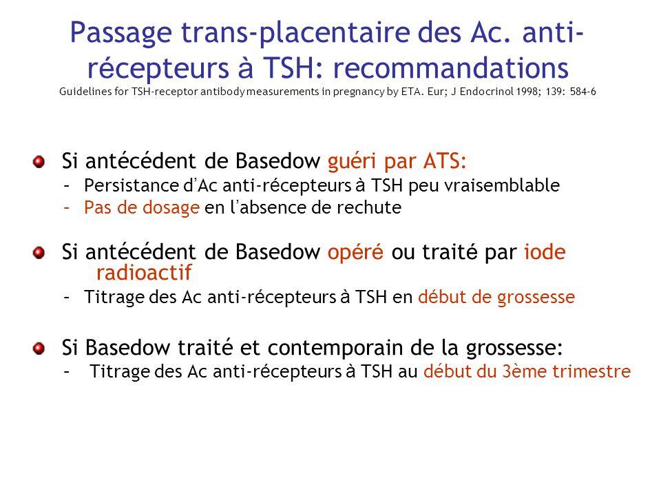 Passage trans-placentaire des Ac. anti- r é cepteurs à TSH: recommandations Guidelines for TSH-receptor antibody measurements in pregnancy by ETA. Eur